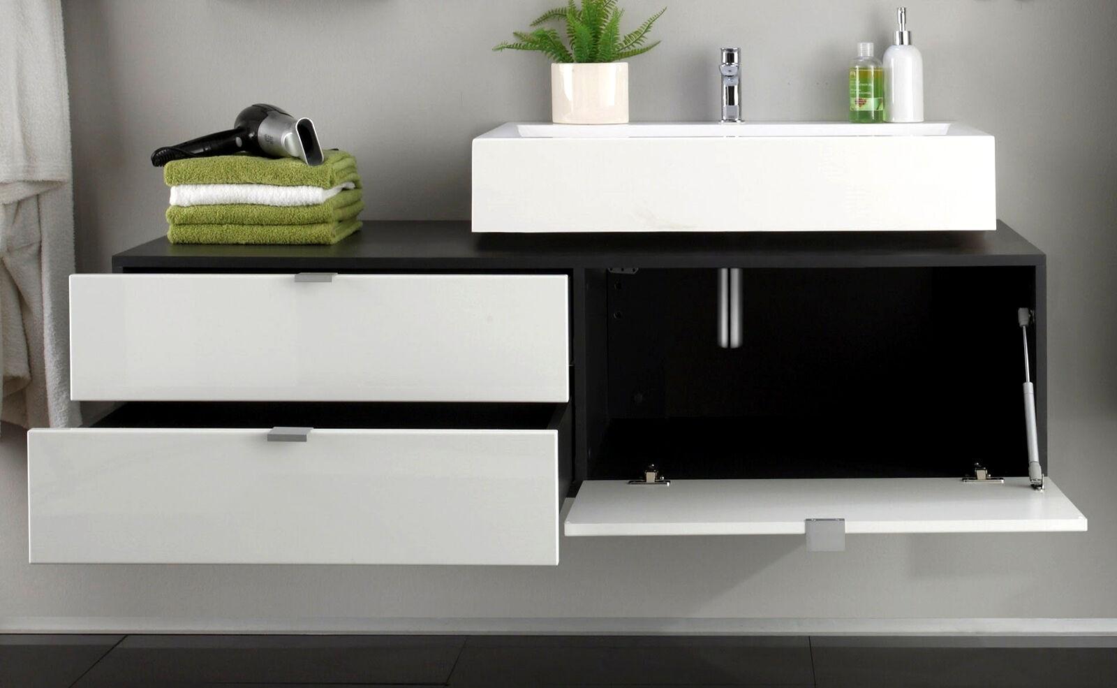 waschbecken unterschrank bad schrank wei hochglanz grau waschtisch m bel beach eur 184 99. Black Bedroom Furniture Sets. Home Design Ideas