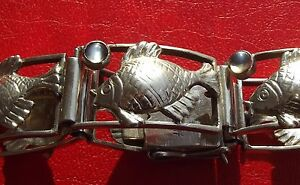 Ƹ̵̡Ӝ̵̨̄Ʒ ANTIK Armband JUGENDSTIL m. FISCHEN + MONDSTEINEN Handarbeit SILBER 800