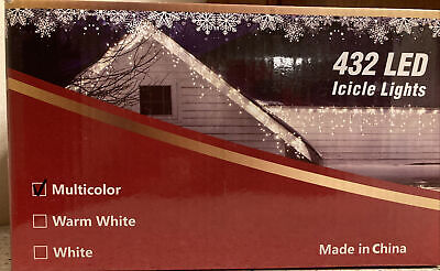 Icicle Christmas Lights, 432 LED 51.8 ft Length 8 Modes Multicolor NWT