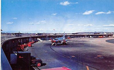 Boston Massachusetts Logan Airport Silver Plane Runway Vehicles 1950S Postcard