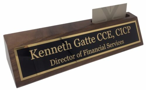 """Personalized 10"""" Walnut Business Desk Name Plate with Card Holder - Free Engravi"""