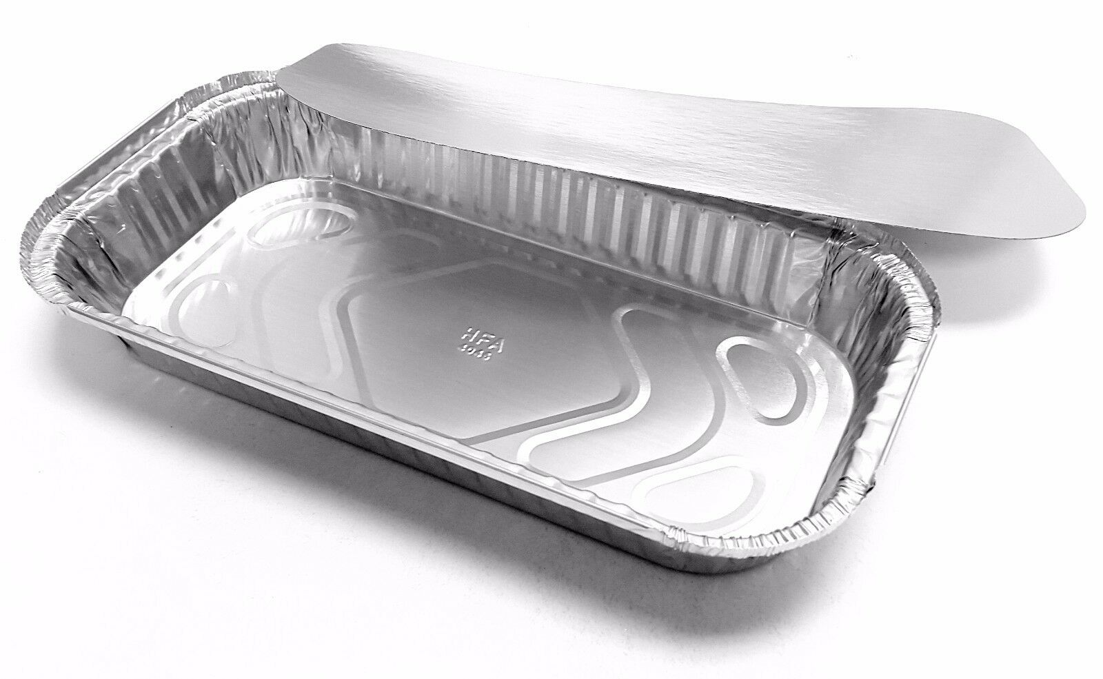 Handi-Foil 3 lb. Oblong Aluminum Entrée Take-Out Pan Trays w/Board Lid 250 Sets