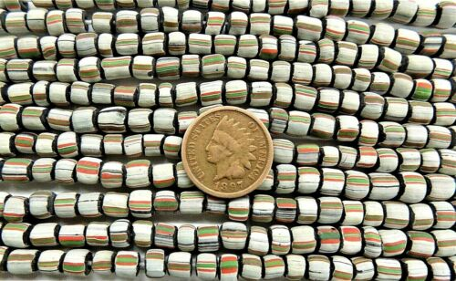 African Trade Beads  Striped Antique Earthtone Gooseberry Style  W4  1864 GB