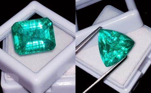 Loose Gemstones Natural Emeralds Certified 8 to 10 Cts 2 Pieces RK58