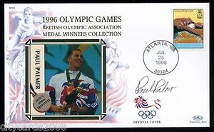 1996-BENHAM-Olympic-GB-Medalists-Cover-signed-Paul-Palmer-Swimming