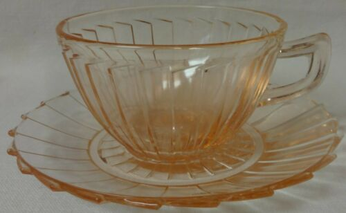 Sierra Pink Cup & Saucer Set of 2 Jeannette Glass Company