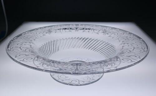 """Rare Pairpoint CLEVELAND Pattern 14"""" Engraved Glass Centerpiece Bowl Antique ABP"""