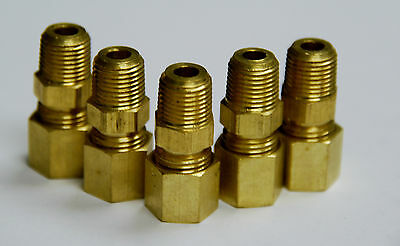Brass Fitting Compression Male Connector Male Pipe Size 18 Tube Od 18 Qty. 5