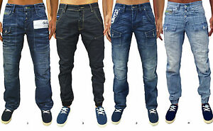Mens-Designer-GIO-GOI-Jeans-Regular-Fit-Straight-Cuffed-Leg-Stylish-Denim-Pants