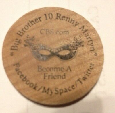 Big Brother 10 Ten Cbs Renny Martyn 2010 Mardi Gras New Orleans Wood Token Coin