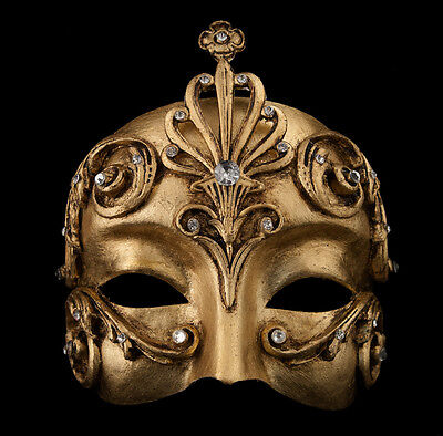 Mask from Venice Colombine Barocco Bronze Golden Authentic Paper Mache -1964