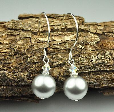 Light Gray W Swarovski Elements Crystal Pearl Earrings Sterling Silver Filled - Gray Pearl Earrings