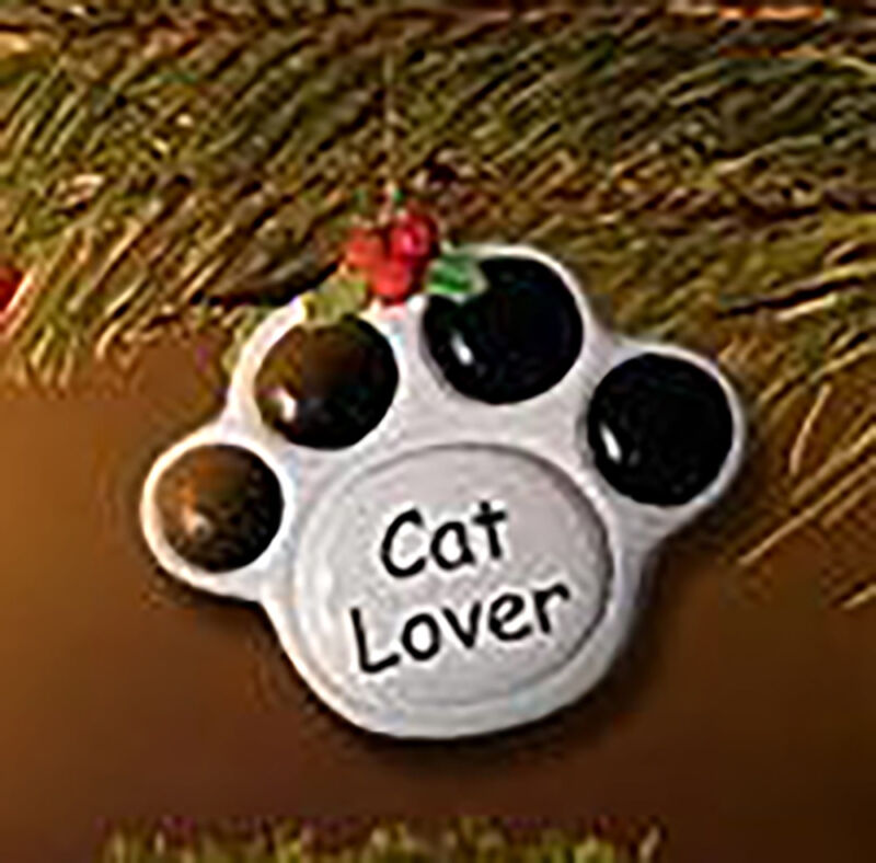"Ceramic Paw Print Christmas Ornament ""Cat Lover"""