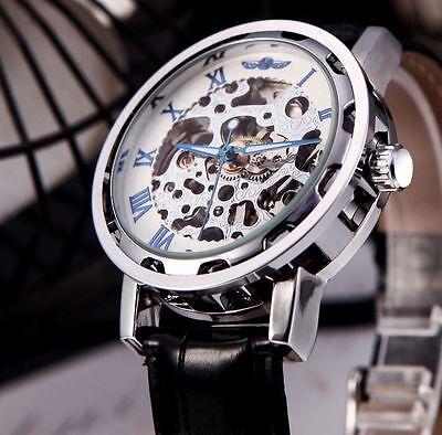 Mens Transparent Skeleton Steampunk Mechanical Wrist Watch Black Leather Band