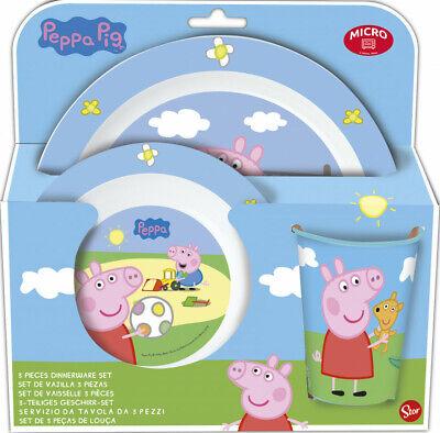 Peppa Pig Frühstücks-Set Peppa Wutz Tasse Schüssel Teller Tasse Set Melamin NEU