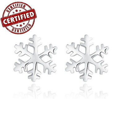 White Gold Plated Solid 100% Sterling Silver Snow Flowers Stud Earrings Fine Earrings