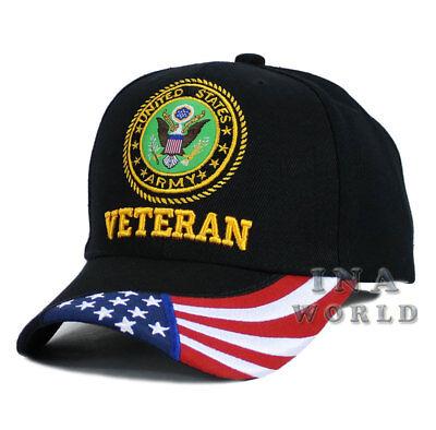 U.S. ARMY hat VETERAN ARMY USA Flag bill Licensed Military Baseball cap- Black