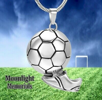 New Soccer Ball Futbol Urn Cremation Pendant Ash Silver Memorial Necklace