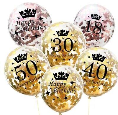 Konfetti Luftballon Set für 50. 18. 30. 40.Geburtstag Zahlenballon Deko