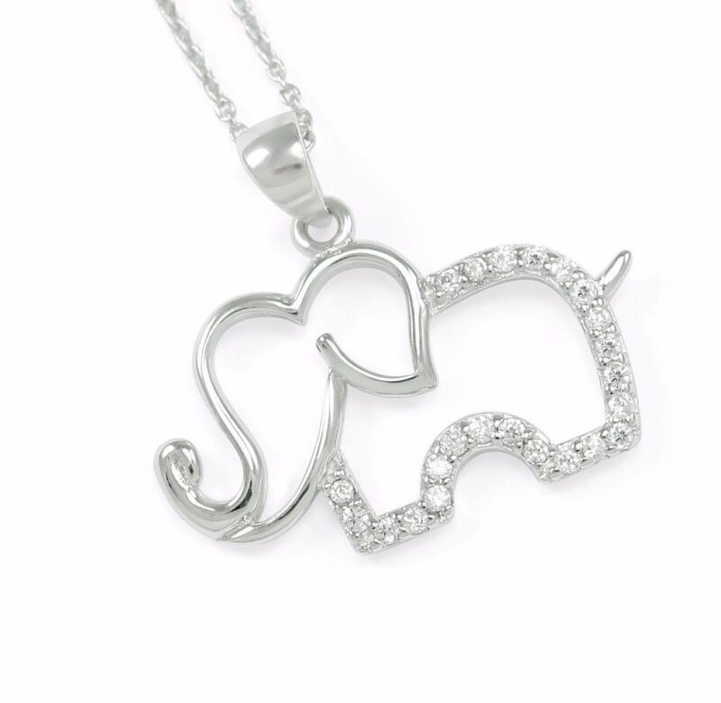 Charming Elephant Necklace- Sterling Silver Pendant with CZ | **New!!!