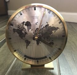Kienzle World Time Zone Clock Brass Electric Mantel Desk Clock Vintage
