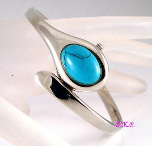 Argent Semi precieux Turquoise Serpent Femmes Glissant Bracelet Montre