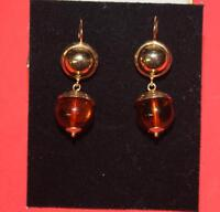 18K Gold and Real  Amber  Pierced Earrings with appraisal
