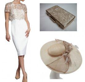 NEW Gina Bacconi Moss Crepe Dress / Hattinator & Clutch Bag / Wedding / Mother Of The Bride / 8-10