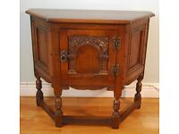 Old Charm Wood Bros Oak Telephone Canted Hall Table - High Quality Linenfold