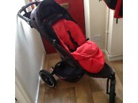 Phil & Teds three wheeler off roader pushchair stroller buggy with red cosy toes rain cover