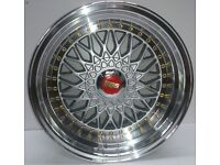 "BBS RS Grey 15"" inch Alloy Wheels 7J 8J 4x100 / 108 ET25 VW Golf Polo Fiat Audi A1 alfa bmw 3 q3z4"