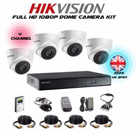 Hikvision 4 Camera Kit - 2mp Dome 40M IR Full HD 1080p 4 Channel DVR & Cable