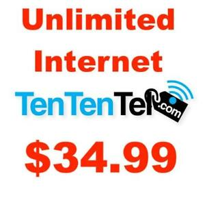 Unlimited Internet, $0 Modem+$0 Install+$0 Dry Loop, $34.99/month