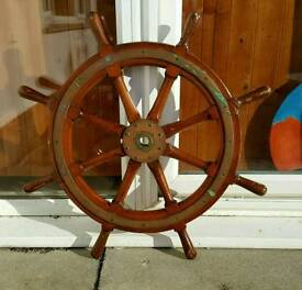 Proper Ship's Wheel - solid timber and brass