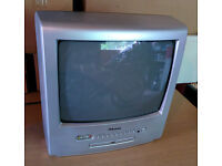 Hikona 14 inch small TV with remote and DVD player built in