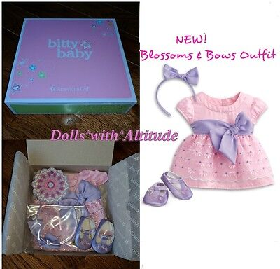 NEW American Girl Doll Pink Blossoms & Bows Outfit Dress Bitty Baby Twins Spring