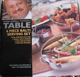 Antony Worrall Thompson's Table 6 piece Balti Serving Set, NEW and boxed.