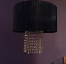 Black chandelier style ceiling light shade with crystals