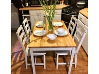 Farmhouse / Country Dining table & chairs in Little Greene French Grey Eggshell Paint