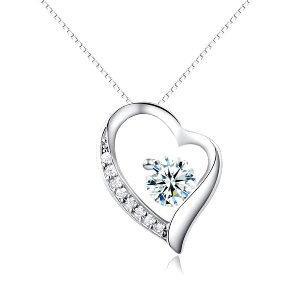 70929a72a Sterling Silver Heart Necklace with Cubic Zirconia Diamond | in ...