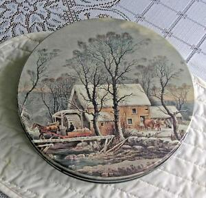 Vintage Cookie Tin With Currier and Ives Old Mill Scene
