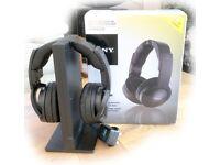 Sony Wireless Noise Reduction Headphones, Model RF865RK, c/w stand, leads & original packaging