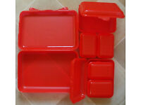 7 x PICNIC FOOD CONTAINERS--STRONG PLASTIC WITH CLIP LOCKS--NEW