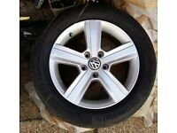 "VW GOLF MK7 16"" DOVER ALLOY WHEEL & CONTINENTAL TYRE 5G0601025BN"