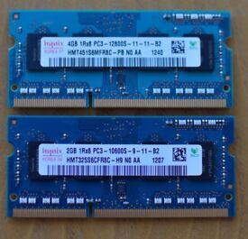 Laptop RAM - 4GB + 2GB SODIMM sticks