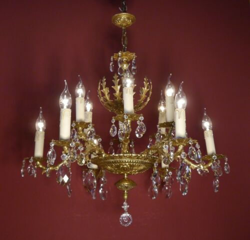 BRASS CRYSTAL CHANDELIER 2 CROWNS VINTAGE LAMP CLASSIC 12 LIGHT  Ø 28""