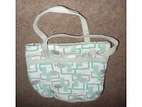 Pale Green and white make-up/cosmetic/toiletry/travel/wash bag