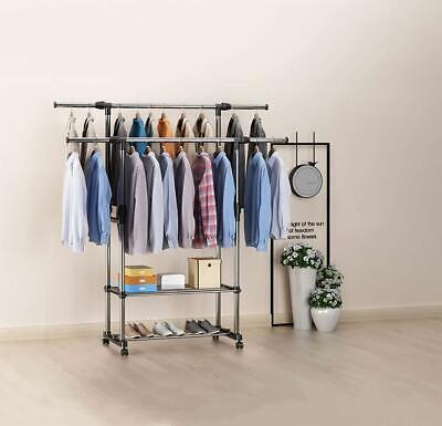 Heavy Duty Clothes Rail Double Adjustable Mobile Coat Hanger Portable Shoe Rack