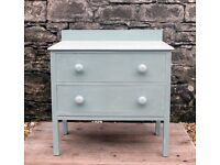 ***REDUCED*** Chest Of Drawers - Shabby Chic - Hand Painted in Annie Sloan Duck Egg Blue Chalk Paint