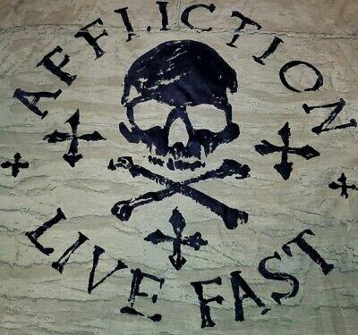 AFFLICTION AMERICAN CUSTOMS Mens Sz XL Olive w/ Black VELVET Graphic T-Shirt EUC